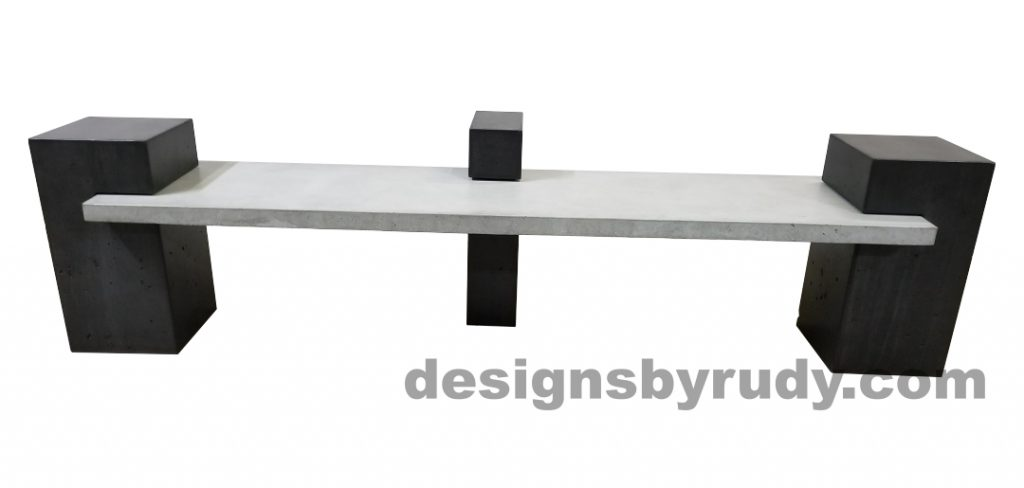 DR CB1 concrete bench on 3 pedestals by Designs by Rudy, front, gray slab all charcoal pedestals