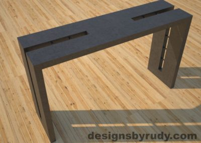 1 Double Split Charcoal Concrete Console Table top angle view 2 with steel accents Designs by Rudy
