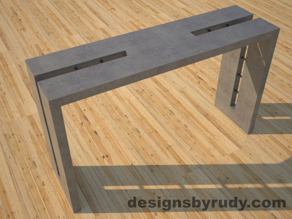 1 Double Split Gray Concrete Console Table top angle view 2 with steel accents Designs by Rudy