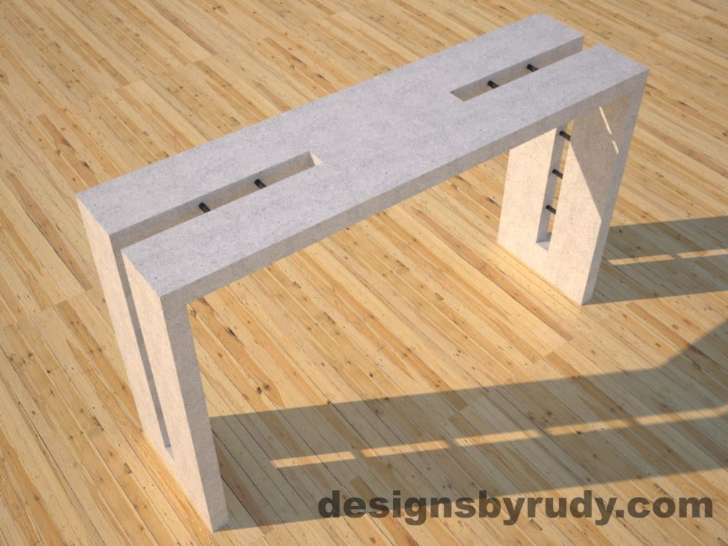 1 Double Split White Concrete Console Table top angle view 2 with steel accents Designs by Rudy