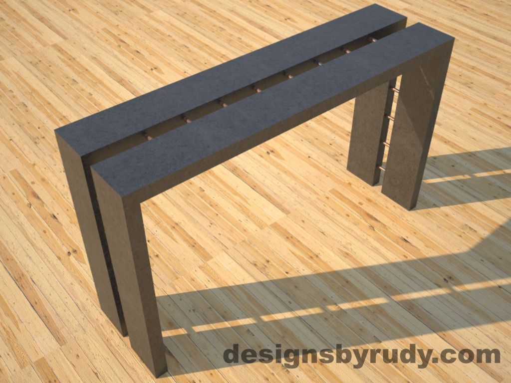 1 Full Split Charcoal Concrete Console Table top angle view 2 with copper accents Designs by Rudy