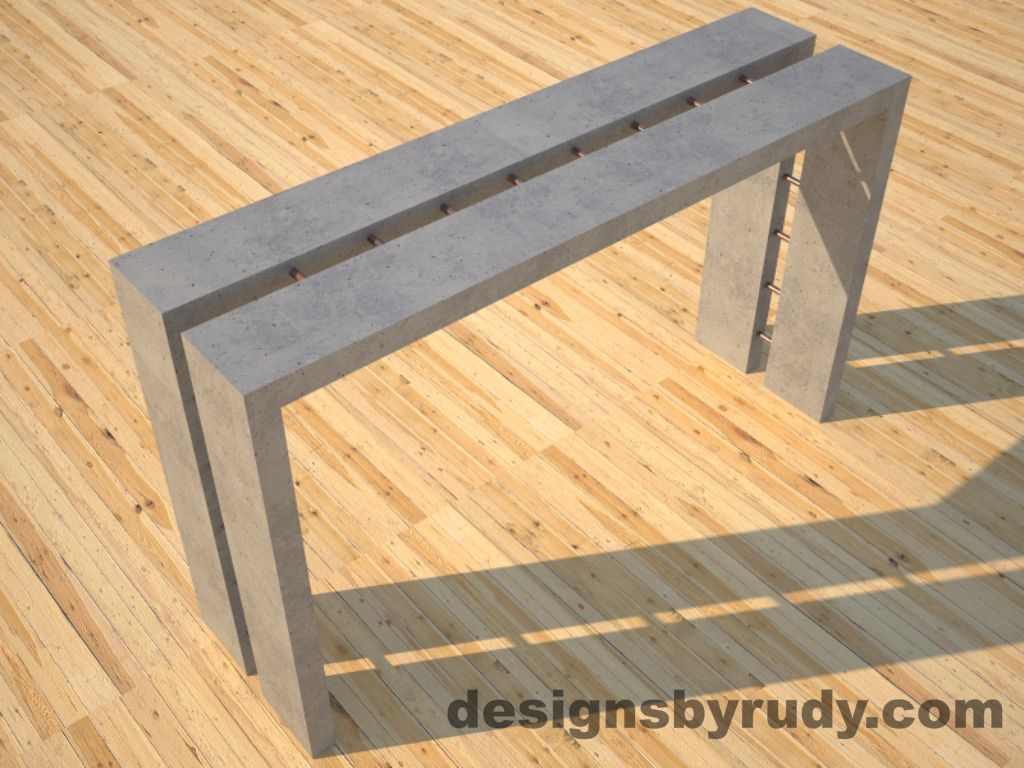 1 Full Split Gray Concrete Console Table top angle view 2 with copper accents Designs by Rudy