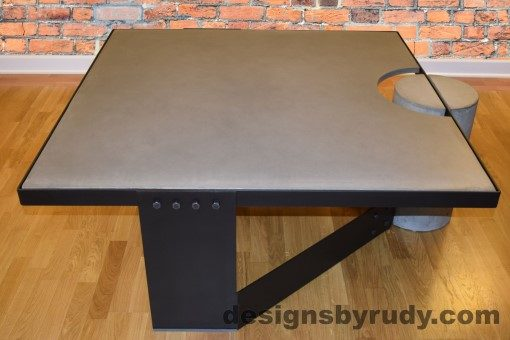 Gray Concrete Coffee Table, Black Steel Frame, side view, Designs by Rudy