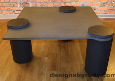 Gray Concrete Coffee Table, Charcoal Pillars, Charcoal Caps, Designs by Rudy
