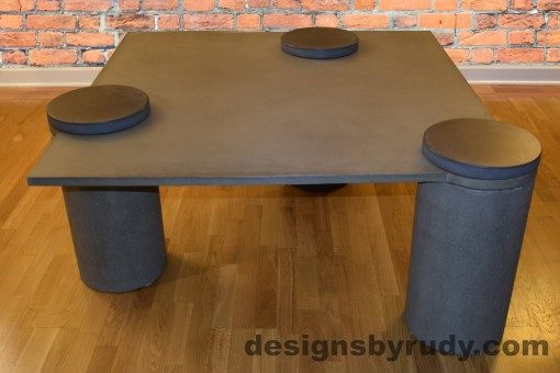Gray Concrete Coffee Table, Gray Pillars, Charcoal Caps, Designs by Rudy