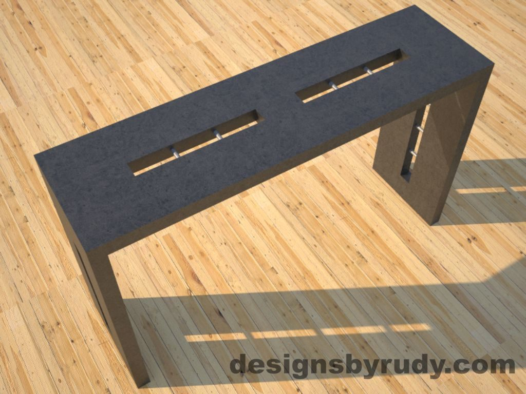 1 Quad Split Charcoal Concrete Console Table top angle view 2 with stainless steel accents Designs by Rudy