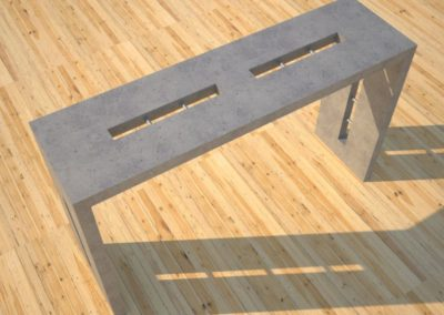 1 Quad Split Gray Concrete Console Table top angle view 2 with stainless steel accents Designs by Rudy