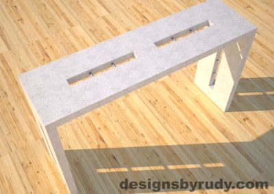 1 Quad Split White Concrete Console Table top angle view 2 with stainless steel accents Designs by Rudy