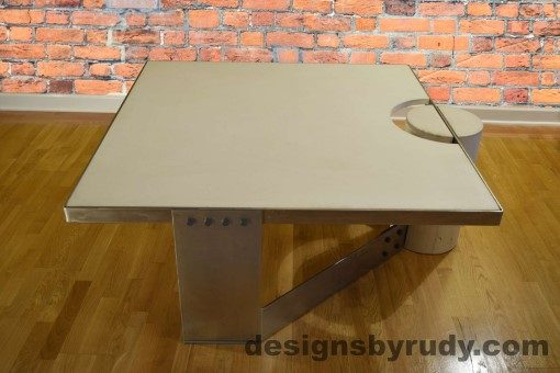 1 White Concrete Coffee Table, Polished Steel Frame, Designs by Rudy