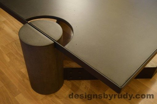 Charcoal Concrete Coffee Table, Black Steel Frame, full round leg and top corner view, no flash, Designs by Rudy