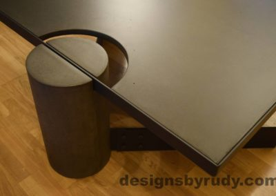 Black Concrete Coffee Table, Black Steel Frame, full round leg and top corner view, no flash, Designs by Rudy