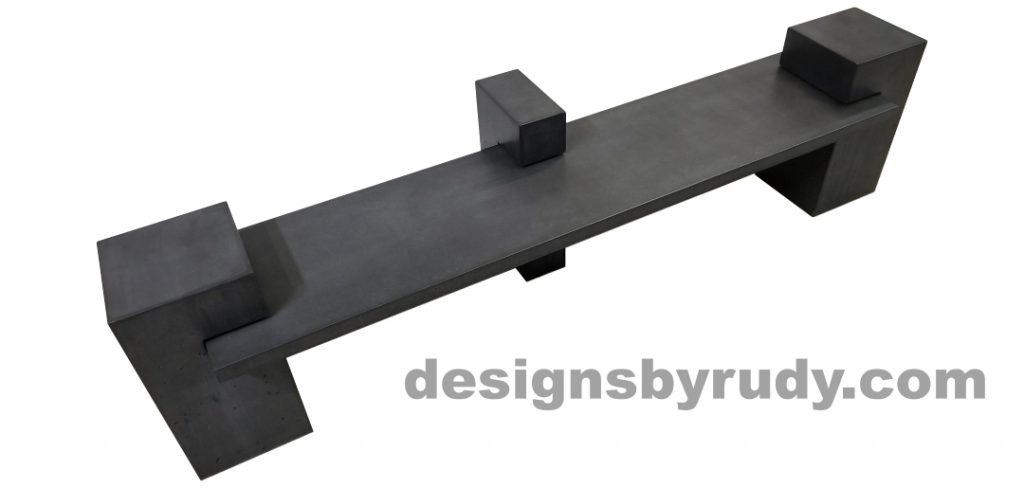 DR CB1 concrete bench on 3 pedestals by Designs by Rudy, top angle view, slab and pedestals in charcoal concrete