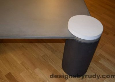 Gray Concrete Coffee Table, Charcoal Pillar and White Cap closeup with flash, Designs by Rudy DR18