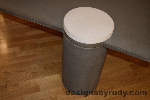 Gray Concrete Coffee Table, Gray Pillar and White Cap closeup with flash, Designs by Rudy