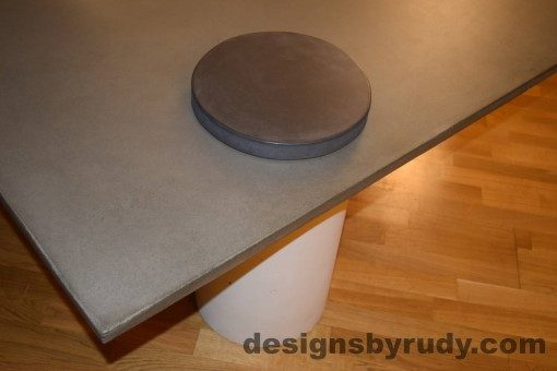 Gray Concrete Coffee Table, White Pillar and Charcoal Cap closeup with flash, Designs by Rudy