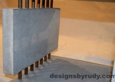 10 Gray Concrete Side Table DR0 front inside surface view, with flash, white bg, Designs by Rudy