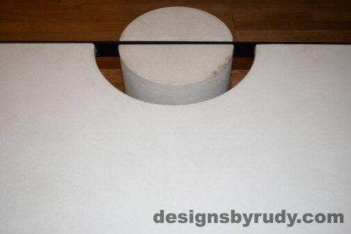 White Concrete Coffee Table, Black Steel Frame, concrete leg and steel frame joint top view 7, Designs by Rudy