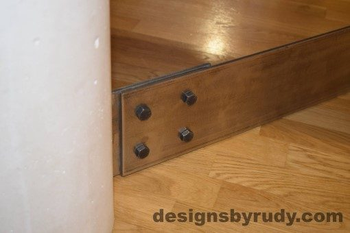 10 White Concrete Coffee Table, Polished Steel Frame, round concrete and steel leg joint 2 with flash Designs by Rudy