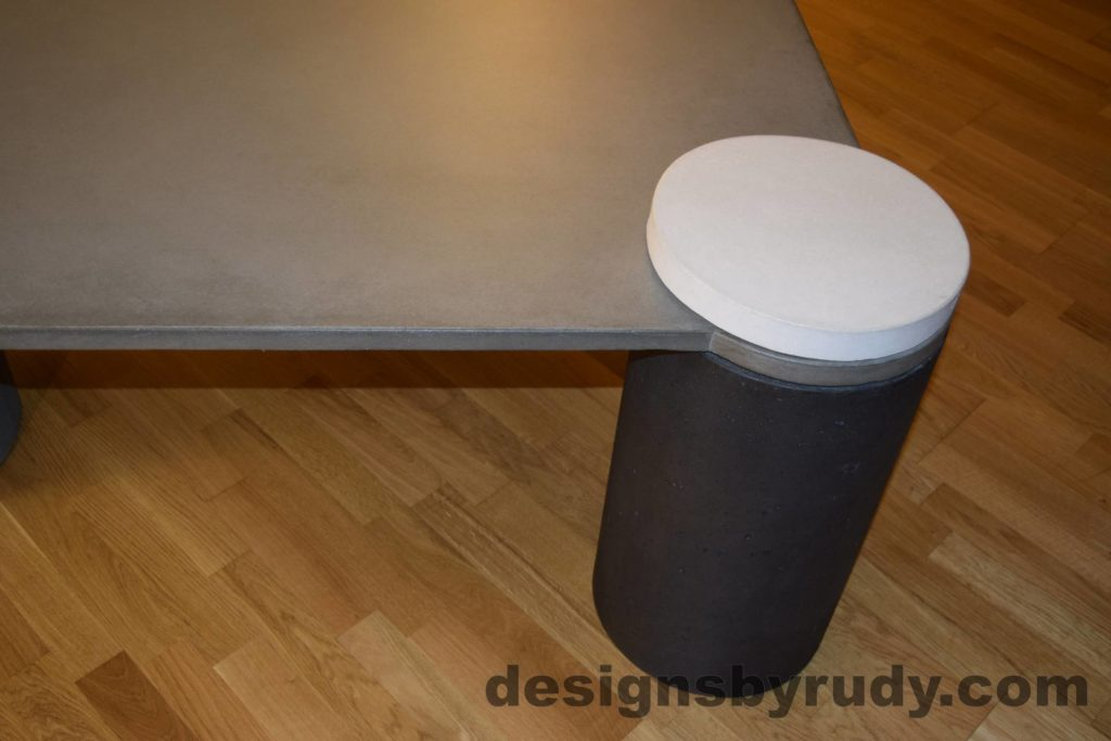 DR18 Gray Concrete Coffee Table, Charcoal Pillar and White Cap closeup with flash, Designs by Rudy