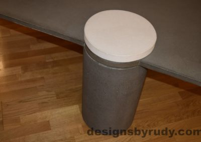 10L Gray Concrete Coffee Table, Gray Pillar and White Cap closeup with flash, Designs by Rudy