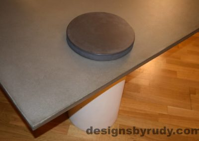 10L Gray Concrete Coffee Table, White Pillar and Charcoal Cap closeup with flash, Designs by Rudy DR18