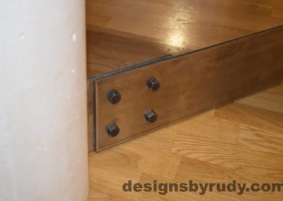 White Concrete Coffee Table, Polished Steel Frame, round concrete and steel leg joint 2 with flash Designs by Rudy