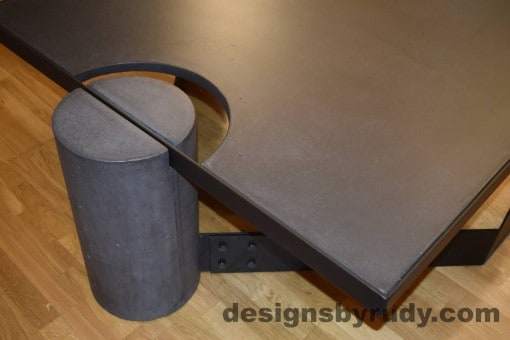 Charcoal Concrete Coffee Table, Black Steel Frame, full round leg and top corner view, with flash, Designs by Rudy