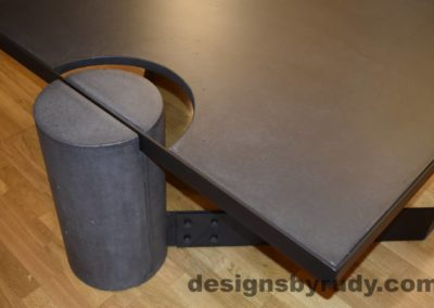 Black Concrete Coffee Table, Black Steel Frame, full round leg and top corner view, with flash, Designs by Rudy
