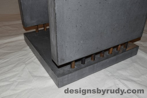 11 Charcoal Concrete Side Table DR0 front bottom corner view closeup with flash, white bg, Designs by Rudy