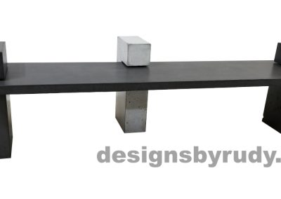 DR CB1 concrete bench on 3 pedestals by Designs by Rudy, front view, slab and 2 pedestals in charcoal concrete, small pedestal in gray