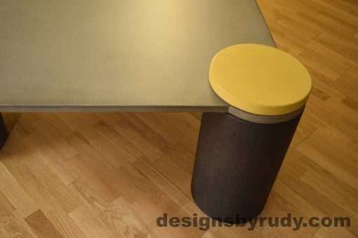 Gray Concrete Coffee Table, Charcoal Pillar and Yellow Cap closeup no flash, Designs by Rudy DR18