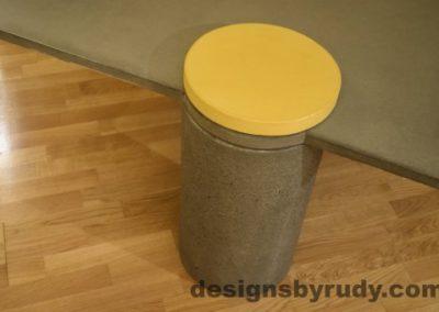 Gray Concrete Coffee Table, Gray Pillar and Yellow Cap closeup no flash, Designs by Rudy