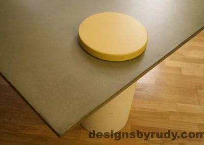 Gray Concrete Coffee Table, White Pillar and Yellow Cap closeup no flash, Designs by Rudy
