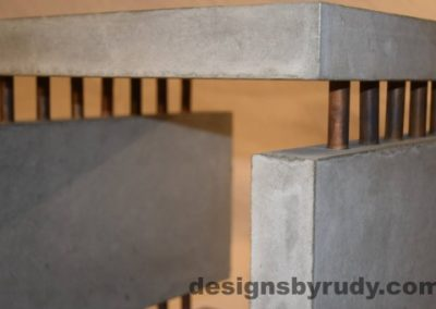 11 Gray Concrete Side Table DR0 front top corner view, with flash, white bg, Designs by Rudy