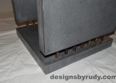 11L Charcoal Concrete Side Table DR0 front bottom corner view closeup with flash, white bg, Designs by Rudy
