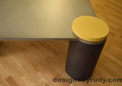 DR18 Gray Concrete Coffee Table, Charcoal Pillar and Yellow Cap closeup no flash, Designs by Rudy