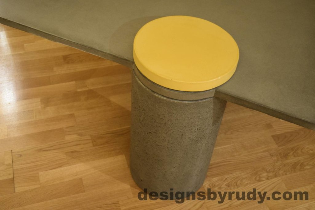 11L Gray Concrete Coffee Table, Gray Pillar and Yellow Cap closeup no flash, Designs by Rudy