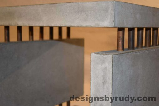 11L Gray Concrete Side Table DR0 front top corner view, with flash, white bg, Designs by Rudy