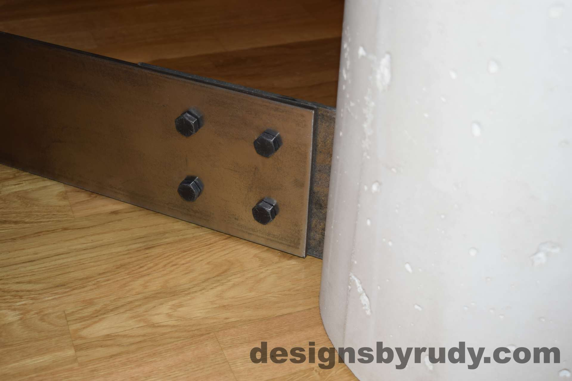 White Concrete Coffee Table, Polished Steel Frame, round concrete and steel leg joint with flash Designs by Rudy