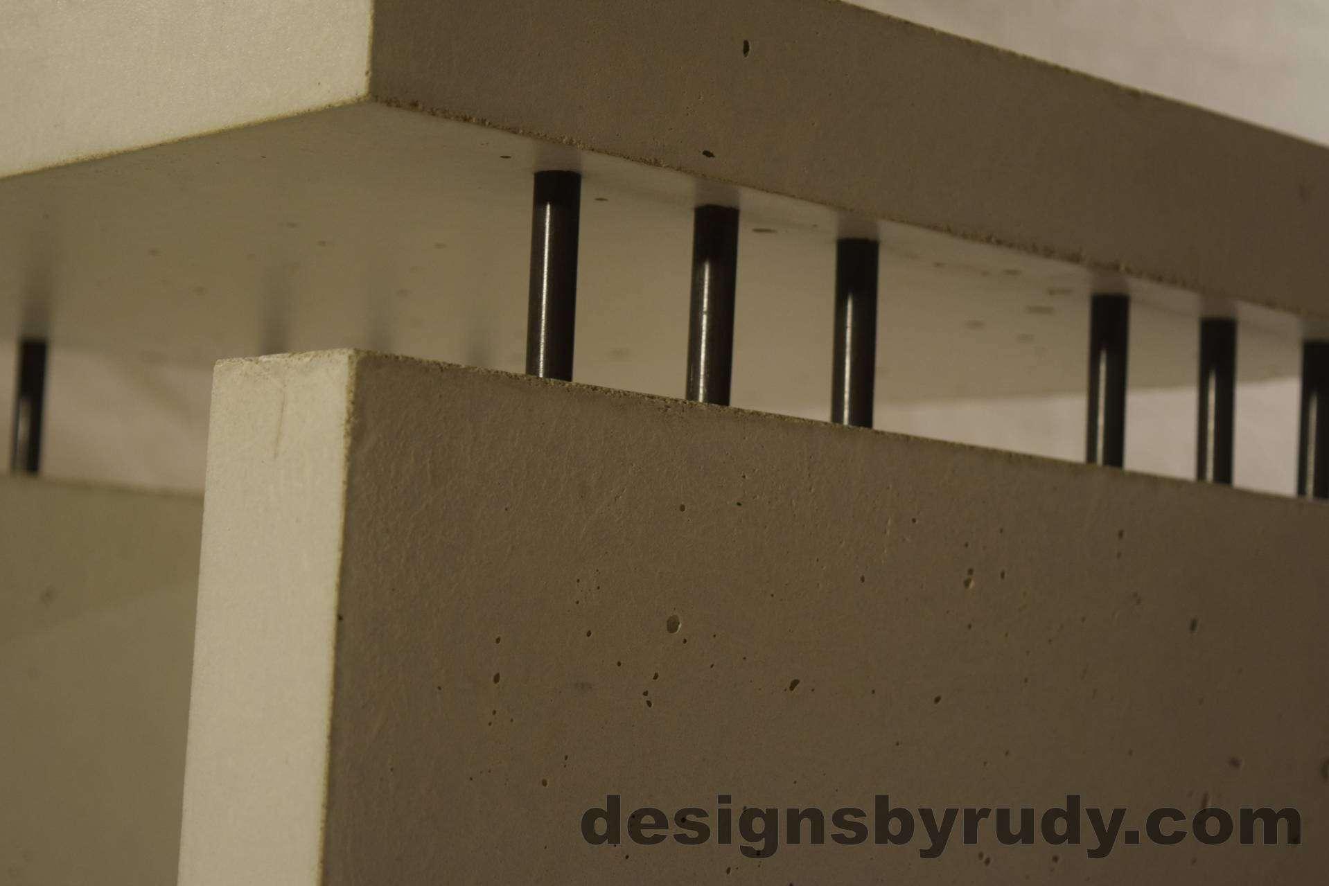 11L White Concrete Side Table DR0 interior lighting, top corner closeup 3, no flash, Designs by Rudy