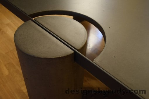 Charcoal Concrete Coffee Table, Black Steel Frame, full round leg and top steel frame joint 2, no flash, Designs by Rudy