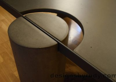 Black Concrete Coffee Table, Black Steel Frame, full round leg and top steel frame joint 2, no flash, Designs by Rudy