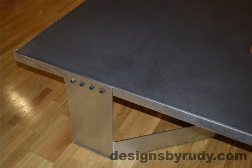 Charcoal Concrete Coffee Table, Polished Steel Frame, steel leg view, with flash Designs by Rudy