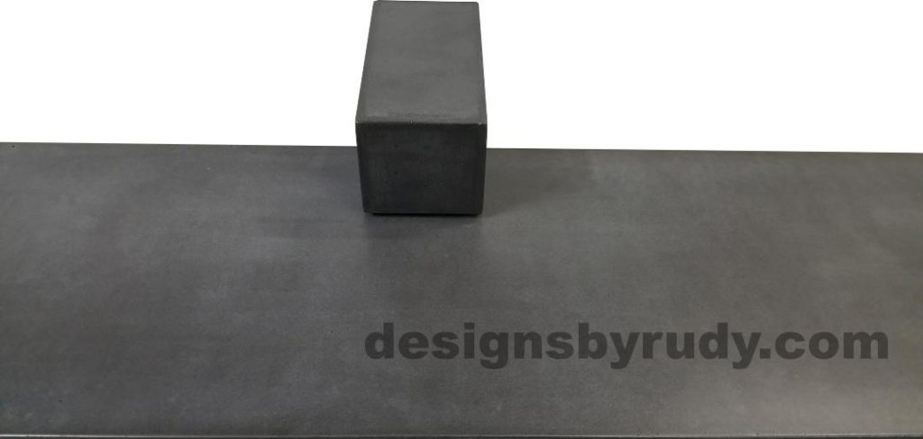 DR CB1 concrete bench on 3 pedestals by Designs by Rudy, center view, slab and small pedestal in charcoal concrete