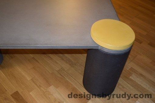 Gray Concrete Coffee Table, Charcoal Pillar and Yellow Cap closeup with flash, Designs by Rudy DR18