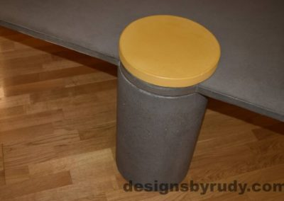 Gray Concrete Coffee Table, Gray Pillar and Yellow Cap closeup with flash, Designs by Rudy