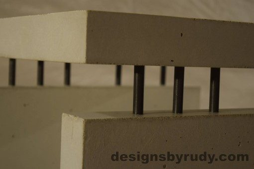 12 White Concrete Side Table DR0 interior lighting, top corner closeup 2, no flash, Designs by Rudy