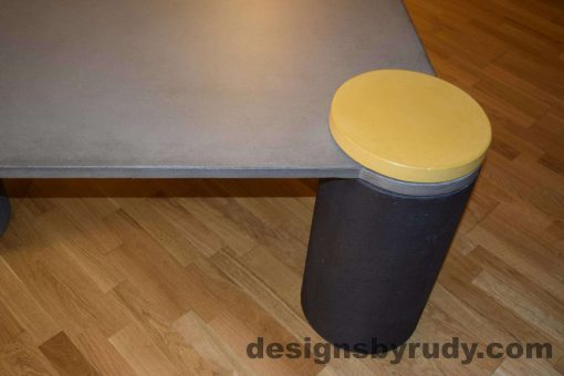 DR18 Gray Concrete Coffee Table, Charcoal Pillar and Yellow Cap closeup with flash, Designs by Rudy