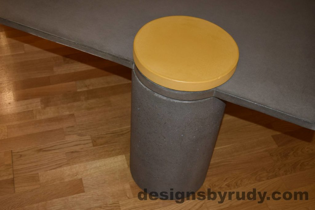 12L Gray Concrete Coffee Table, Gray Pillar and Yellow Cap closeup with flash, Designs by Rudy