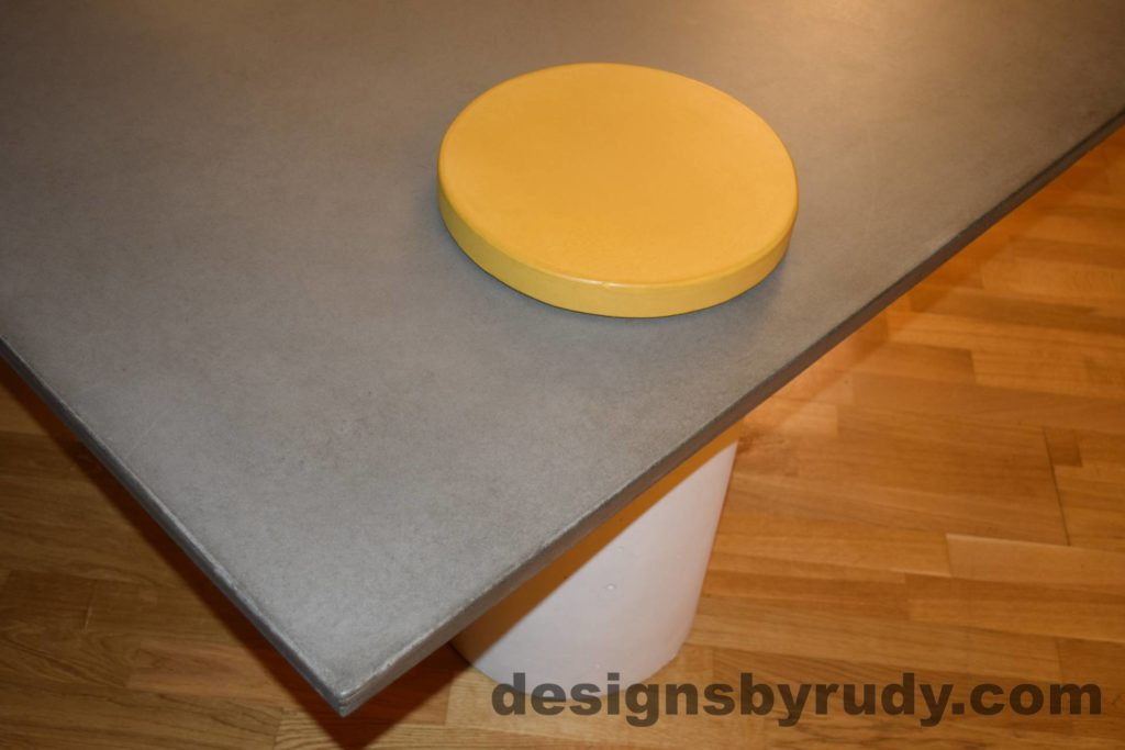 12L Gray Concrete Coffee Table, White Pillar and Yellow Cap closeup with flash, Designs by Rudy DR18